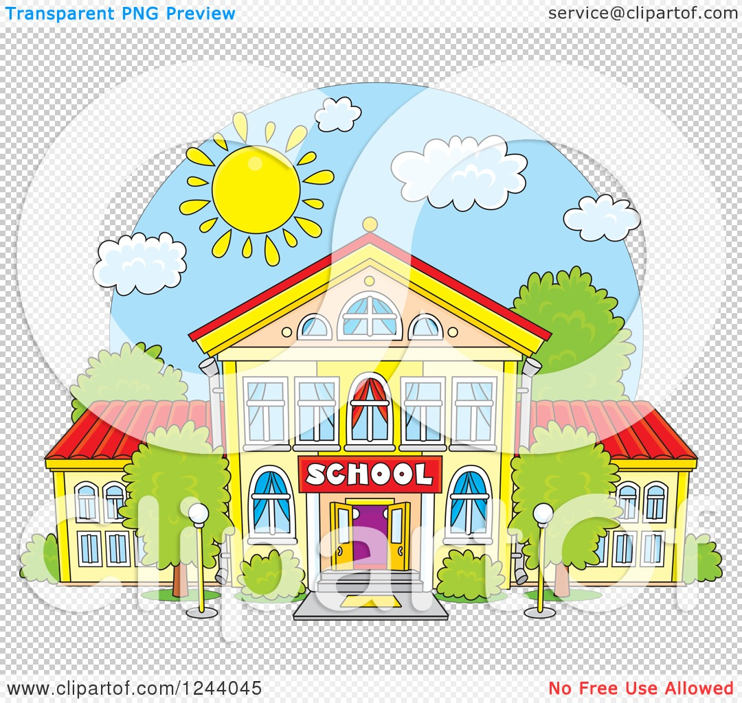 Clipart of a School Building Facade on a Sunny Day - Royalty Free ...