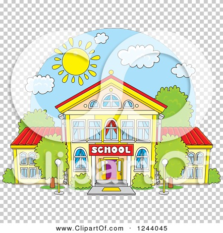 Clipart of a School Building Facade on a Sunny Day - Royalty Free