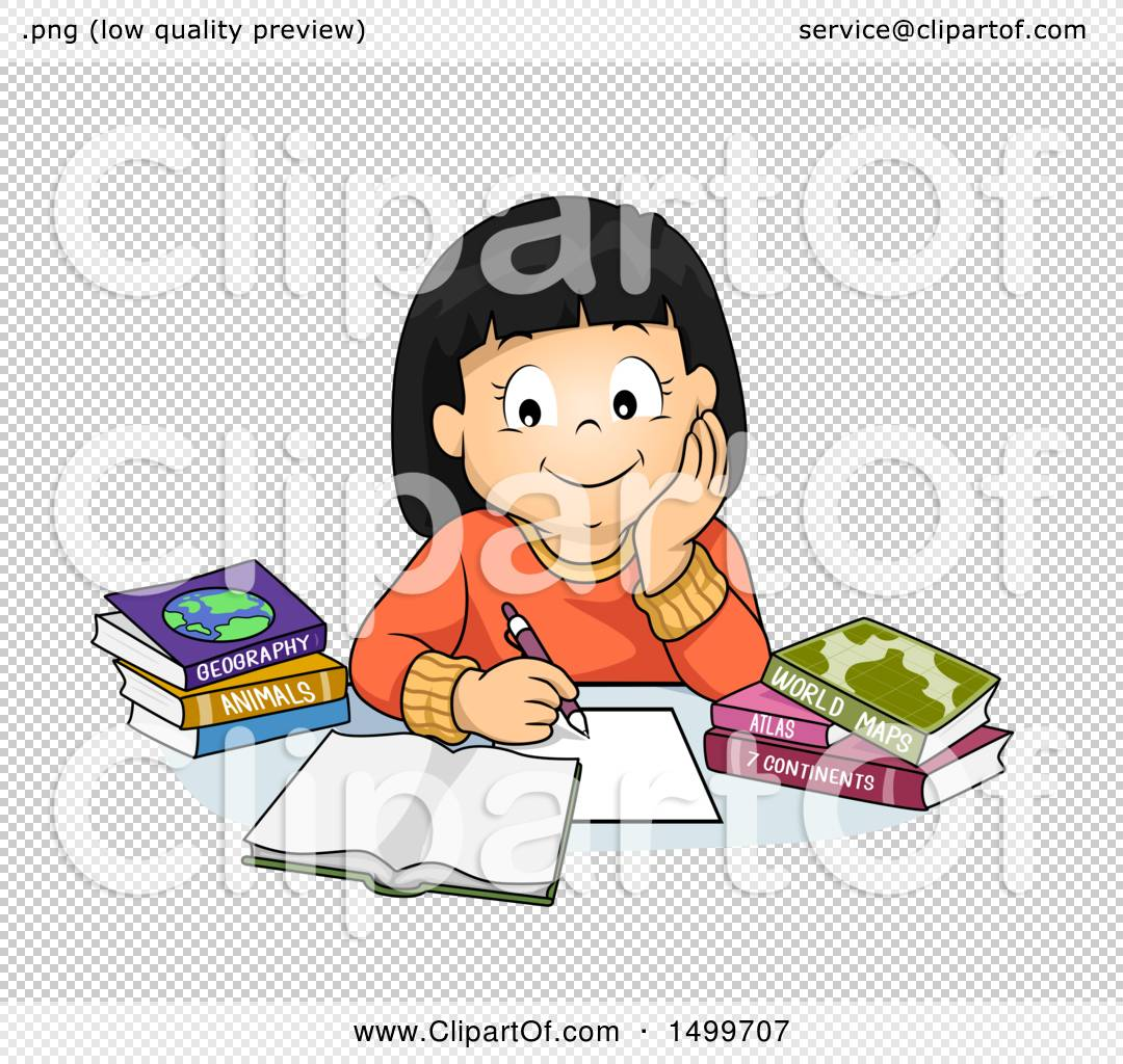 c302bbf369e Clipart of a School Girl Studying Geography - Royalty Free Vector ...