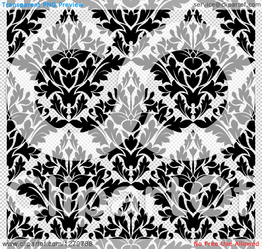 Clipart of a Seamless Background Pattern of Floral in