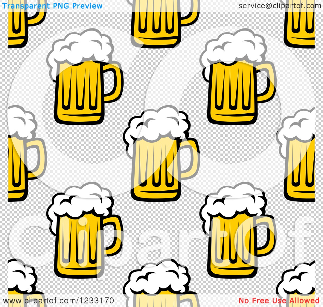 clipart of a seamless background of beer mugs royalty free vector illustration by vector. Black Bedroom Furniture Sets. Home Design Ideas