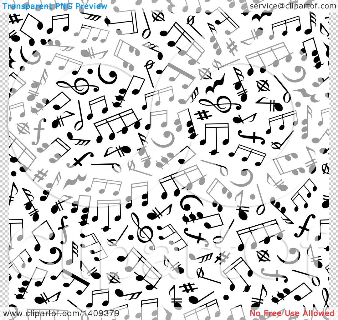 Clipart of a seamless background pattern of black music notes png file has a transparent background voltagebd Images