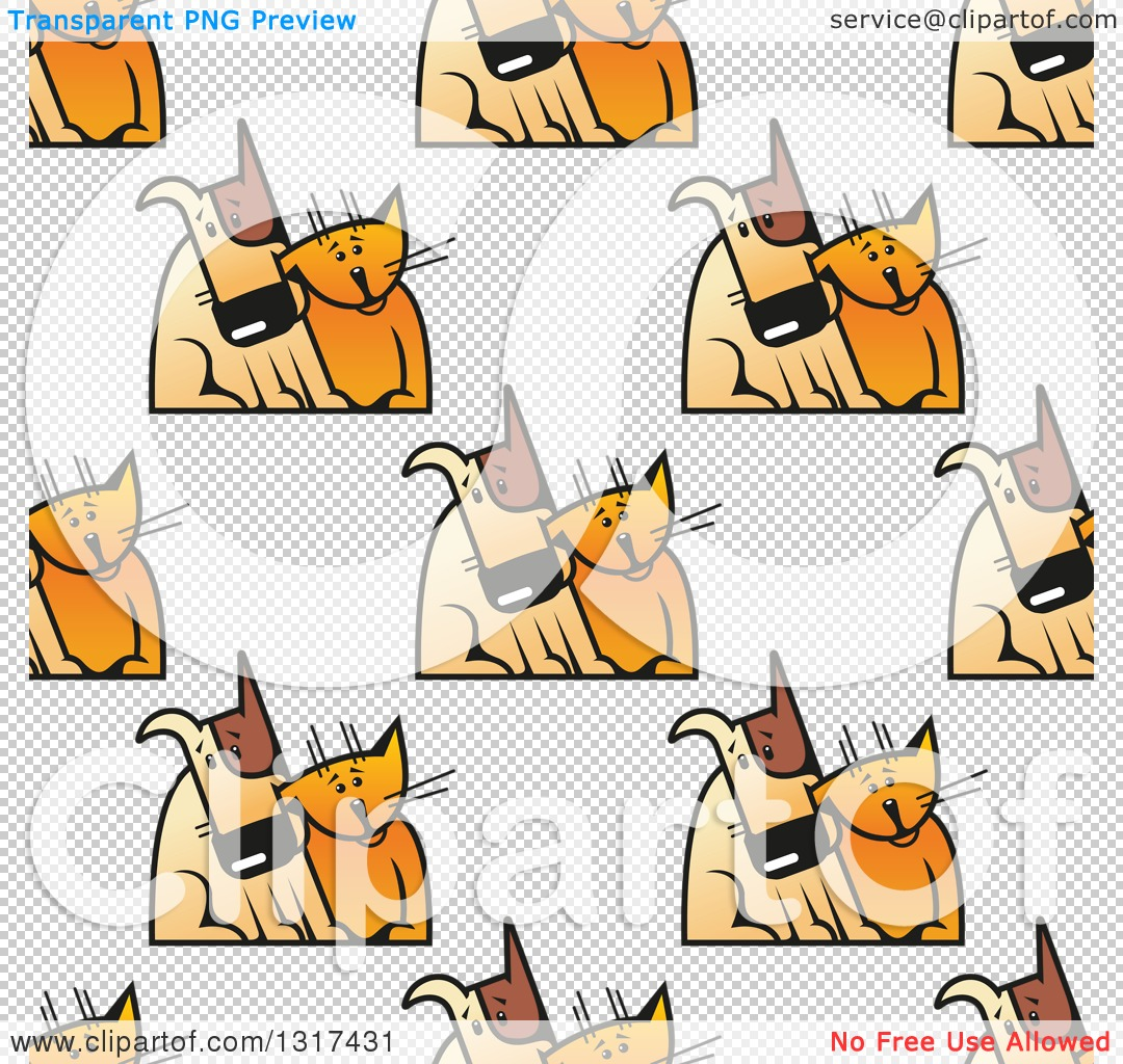 Clipart of a Seamless Background Pattern of Cats and Dogs Cuddling ...