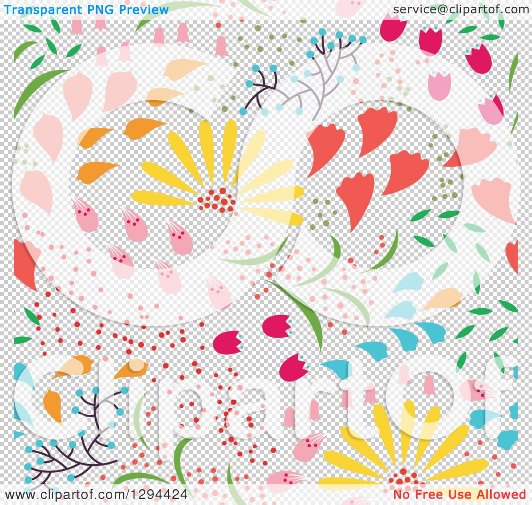 Clipart of a Seamless Colorful Spring Flower Pattern Background