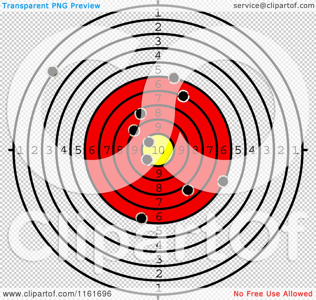 Clipart of a Shooting Range Target with Bullet Holes - Royalty ...