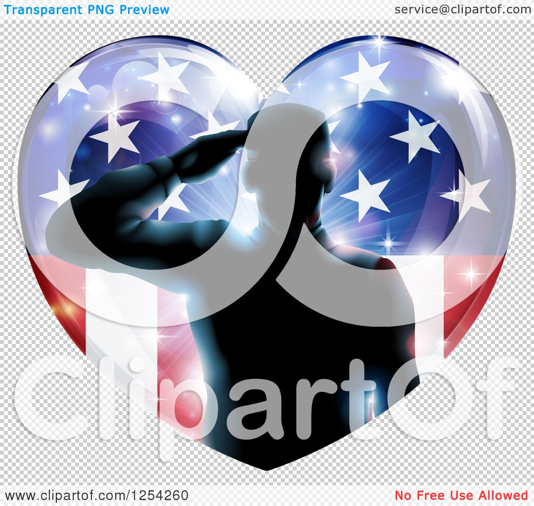 Clipart of a Silhouetted Military Veteran Saluting over an ...