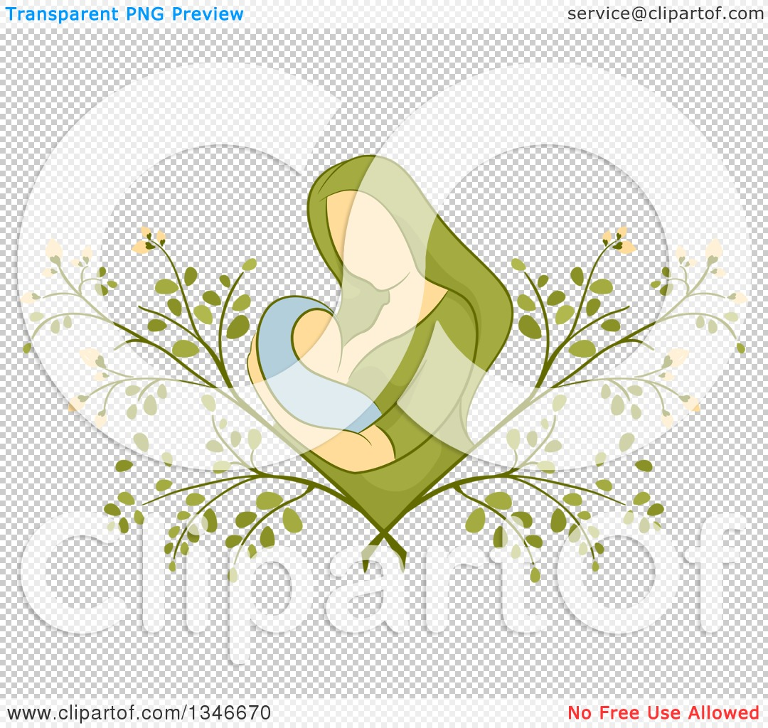 Clipart of a Sketched Mother Breastfeeding Her Baby in a Moringa ...
