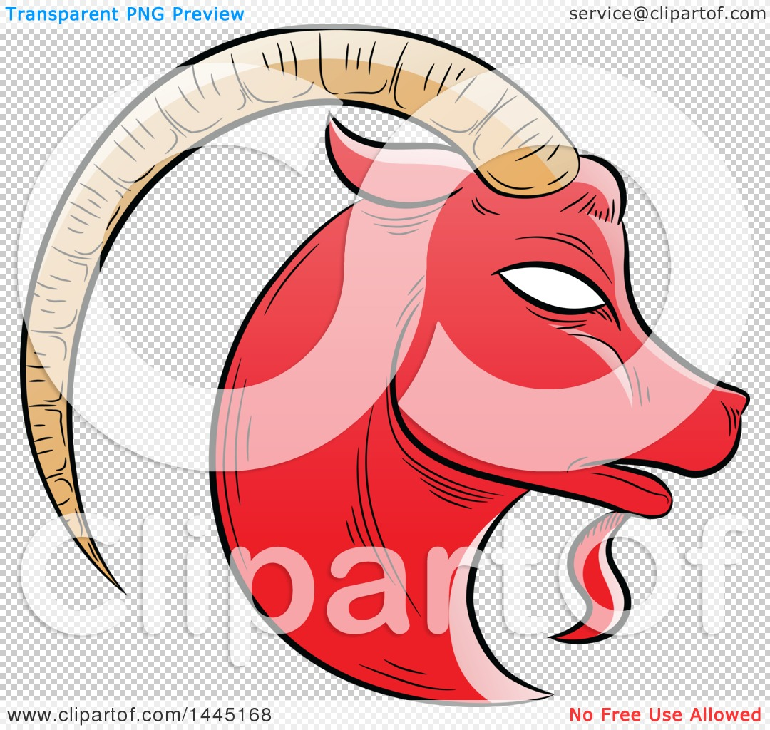Clipart of a Sketched Red Astrology Zodiac Capricorn Goat Head in ...