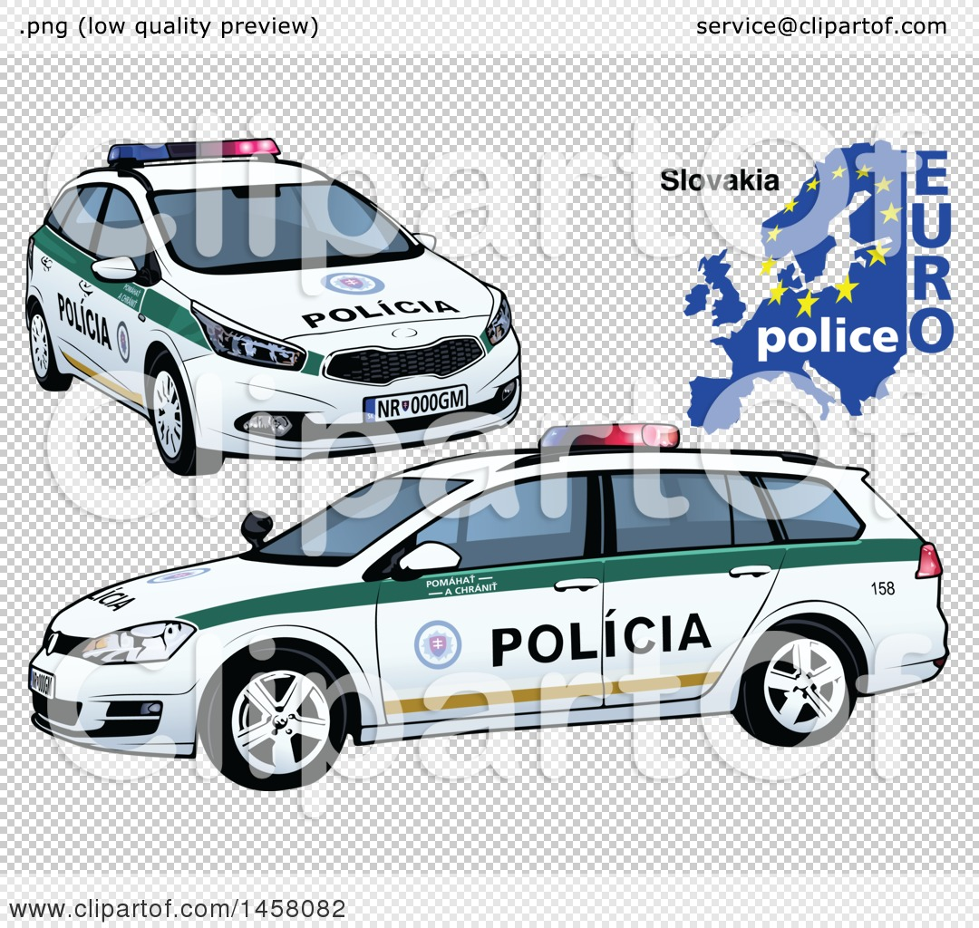 Clipart Of A Slovak Police Car With A Map And Euro Police Text
