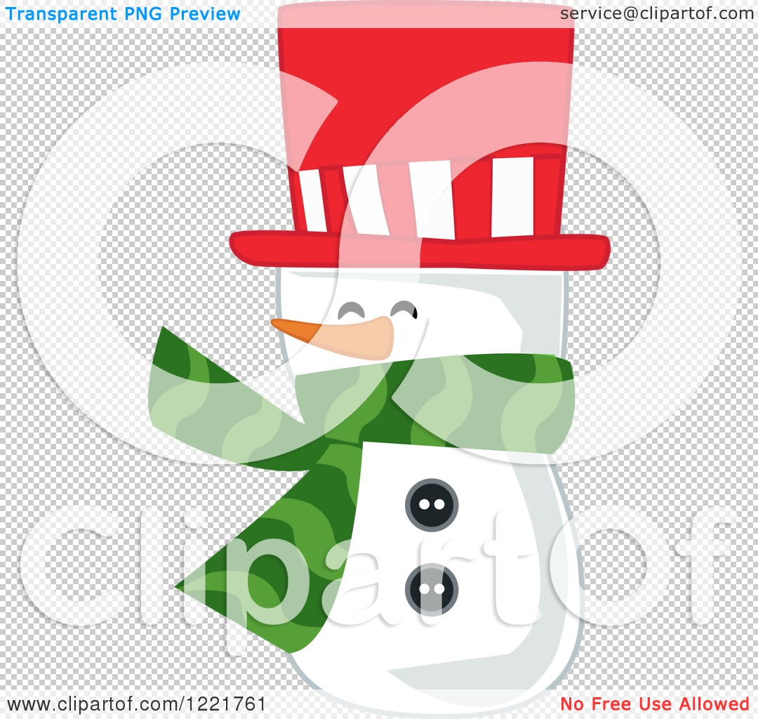 Clipart of a Snowman Wearing a Red Top Hat and a Green Scarf ...