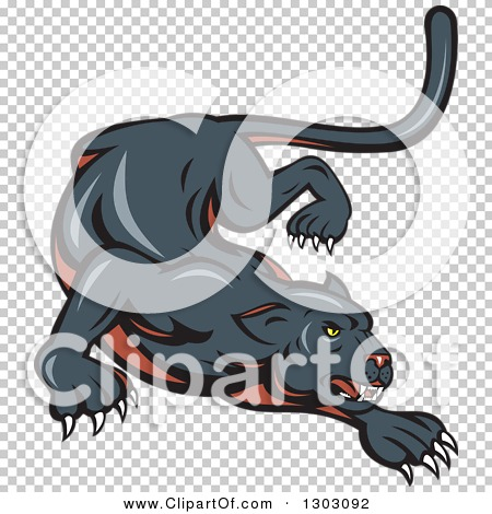 Clipart of a Stalking and Crouching Black Panther Cat ...