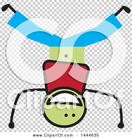 clipart of a stick boy doing a head stand  royalty free