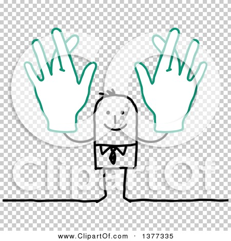 Clipart of a Stick Business Man Holding up Big Hands with Crossed ...