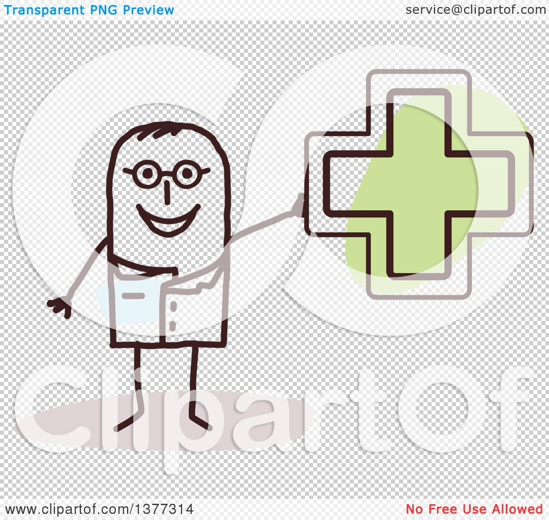Clipart of a Stick Male Naturopathic Doctor Holding a Green