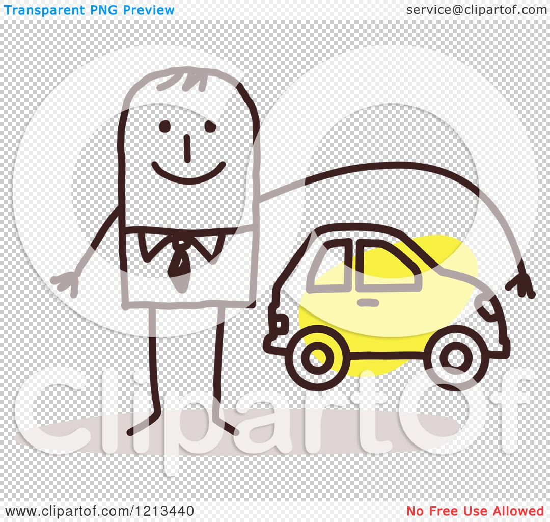 Clipart Stick People Man Depicting Car Insurance Royalty Free