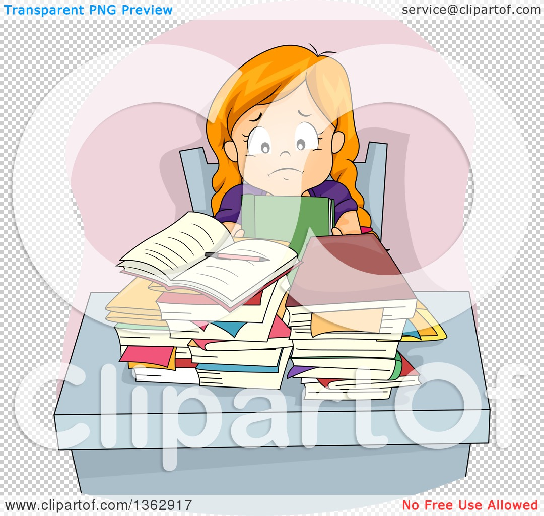 Clipart of a Stressed Red Haired White Girl Sitting at a ...