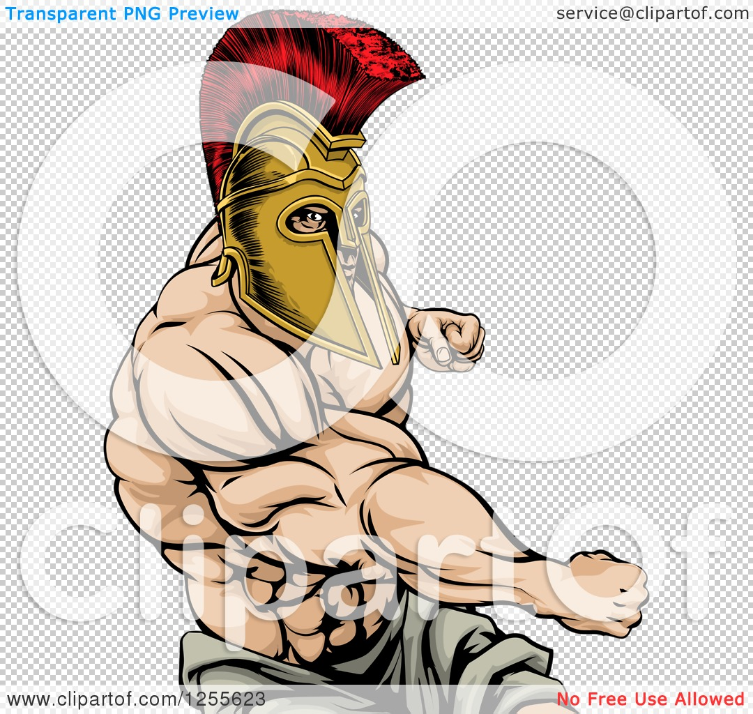 Clipart of a Strong Spartan Warrior Mascot Punching - Royalty Free ...