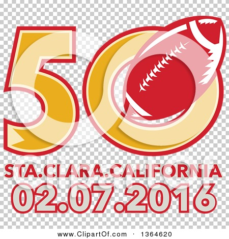 Clipart of a Super Bowl 50 Sports Design with a Red Football over ...