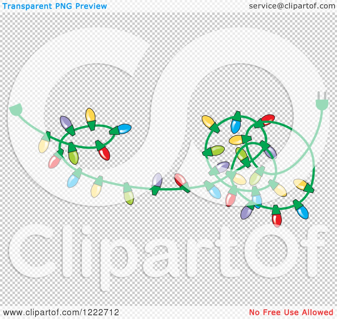 Clipart Of A Tangled Strand Of Christmas Lights With Colorful Bulbs Royalty Free Vector Illustration By Johnny Sajem 1222712