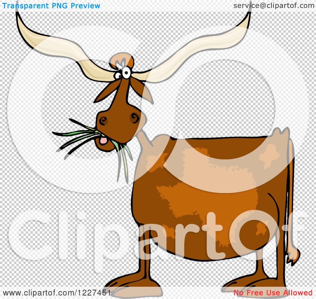 Clipart Of A Texas Longhorn Cow Eating Grass Royalty Free Vector Illustration By Djart 1227451