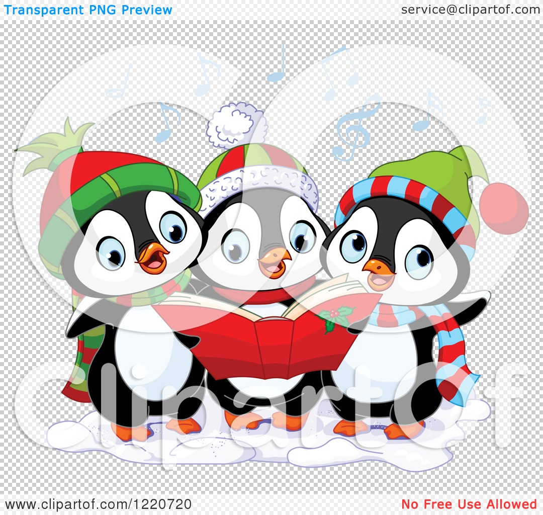 clipart of a trio of cute penguins singing christmas carols