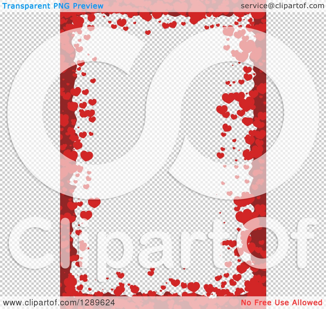 Clipart of a Vertical Background of Red Valentine Hearts Around ...