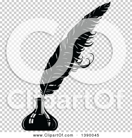Clipart of a Vintage Black and White Feather Quill in an Ink Well ...