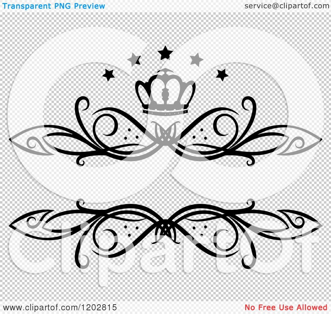 Clipart Of A Vintage Black And White Swirl Frame With A Crown And Luxury Stars 2