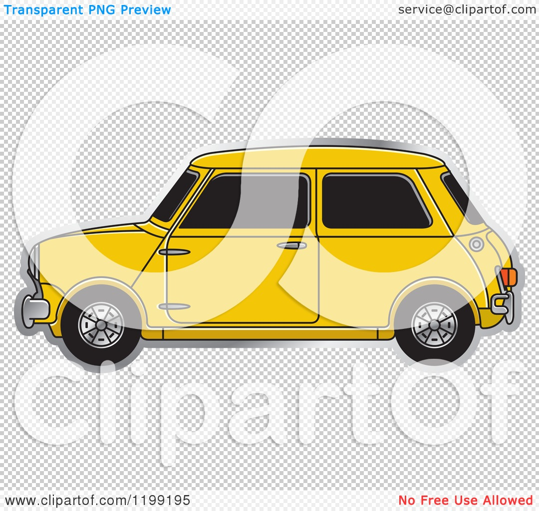 Clipart Of A Vintage Yellow Morris Mini Car Royalty Free