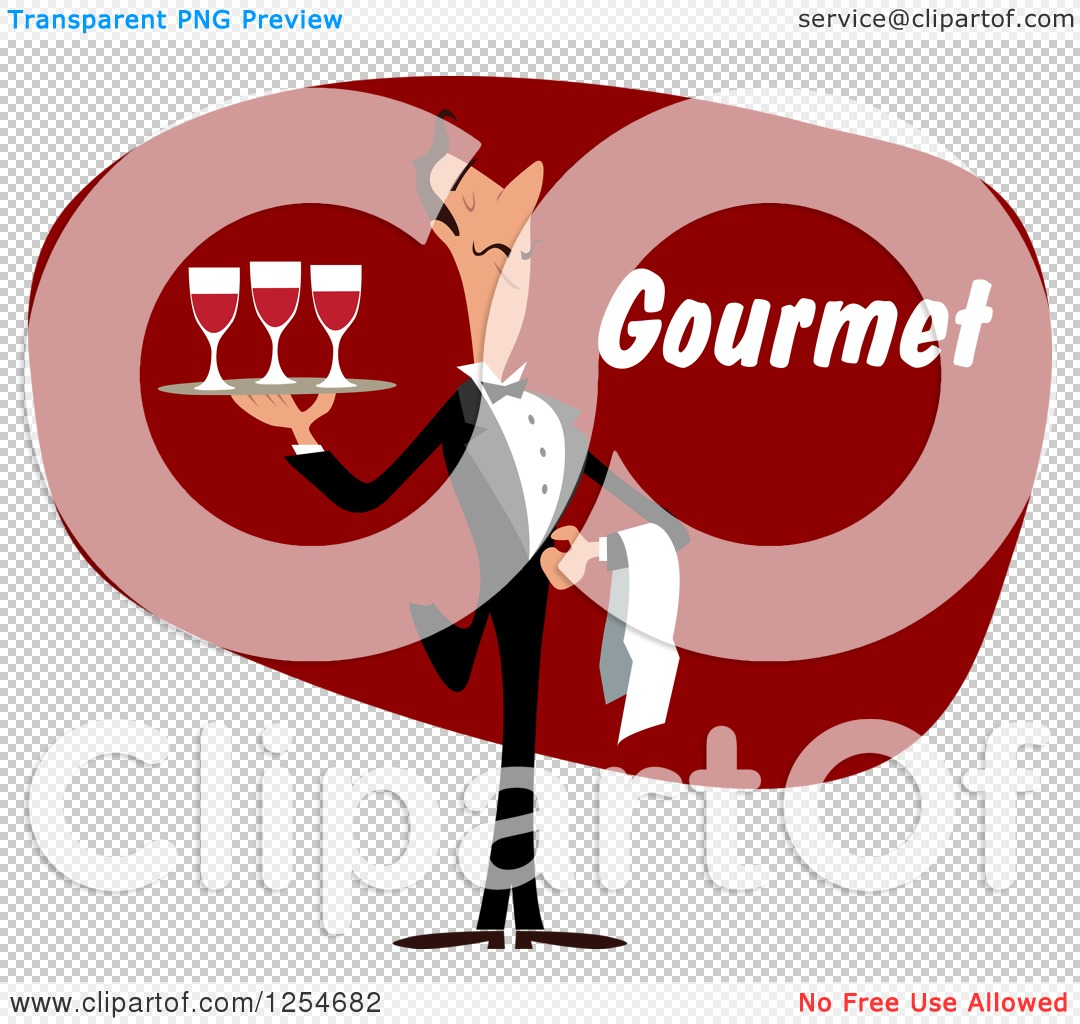 Clipart of a Waiter with Wine and Gourmet Text - Royalty Free ...