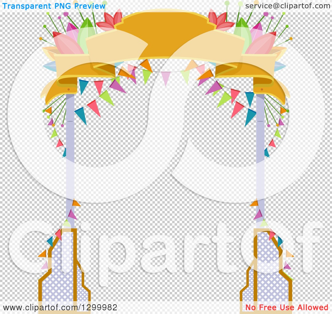 Clipart of a Welcome Arch with Banners and Flowers ...