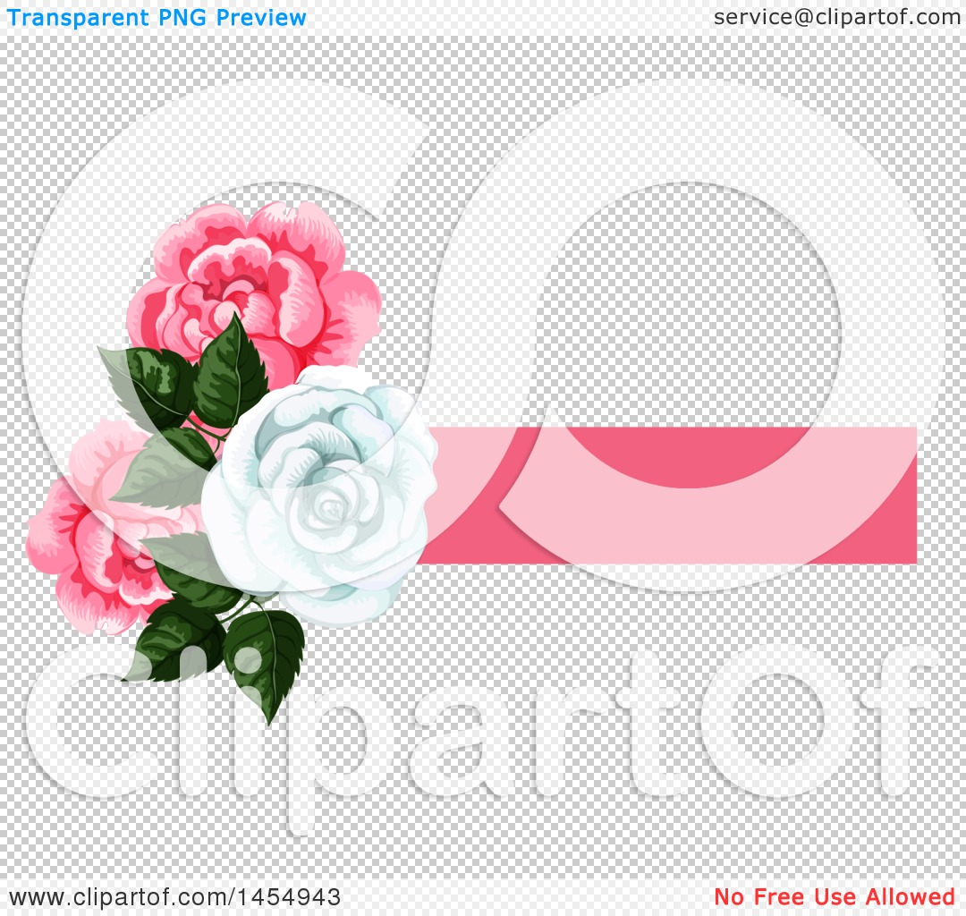 Clipart of a White and Pink Rose Flower Design Element - Royalty ... for Vector Rose Flower Png  49jwn