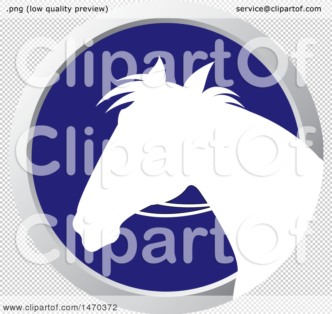 Clipart Of A White Silhouetted Horse Head In A Silver And Blue