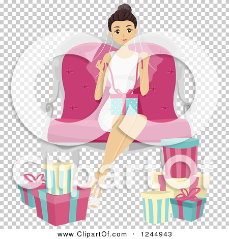 Clipart of a Young Lady Opening Gifts at a Bridal Shower ...