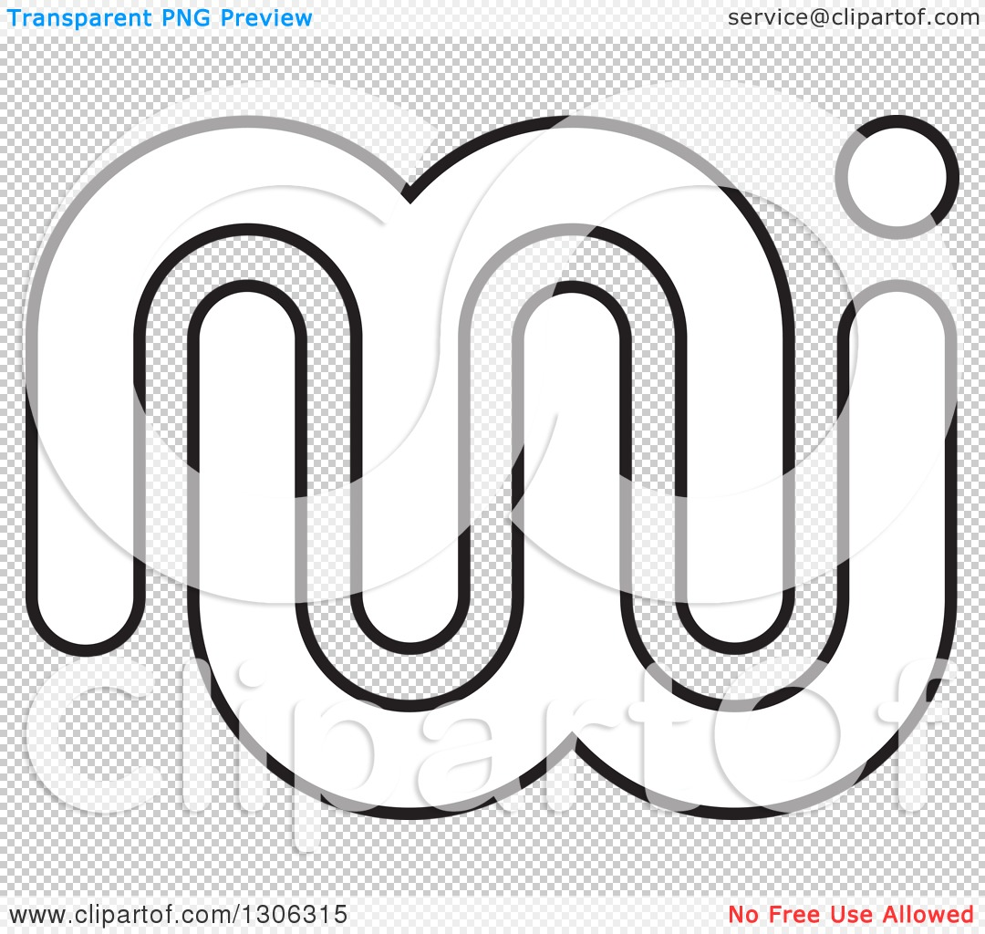 Clipart of an Abstract Black and White Outline Alphabet Letter MW ...