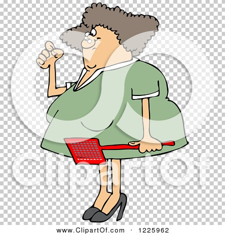 Clipart of an Annoyed Caucasian Woman Holding a Fly Swatter ...