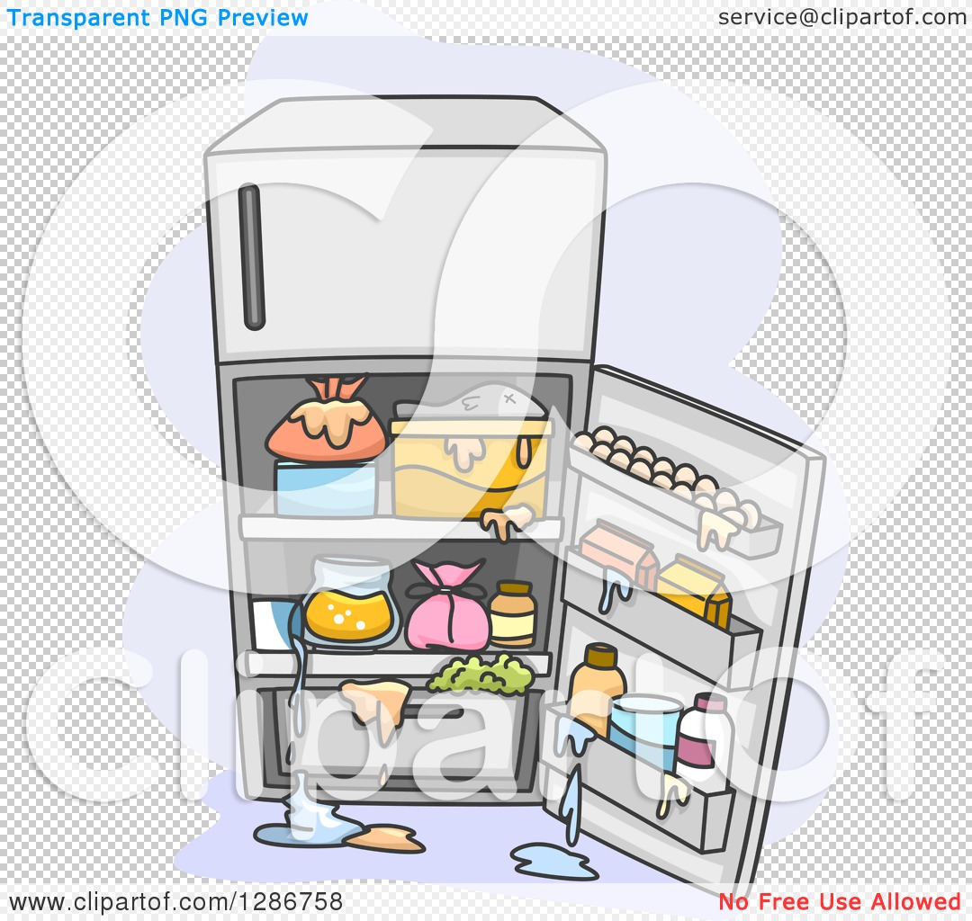 Messy Fridge: Clipart Of An Open Messy Refrigerator With Spills