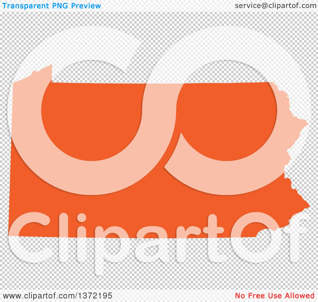 Clipart Of An Orange Silhouetted Map Shape Of The State Of - Us vector map on transparent back