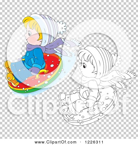 Clipart of an Outlined and Colored Boy Snow Tubing - Royalty Free ...