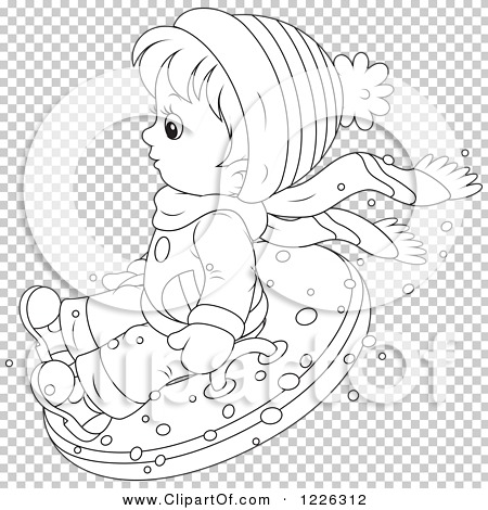 Clipart of an Outlined Boy Snow Tubing - Royalty Free Vector ...