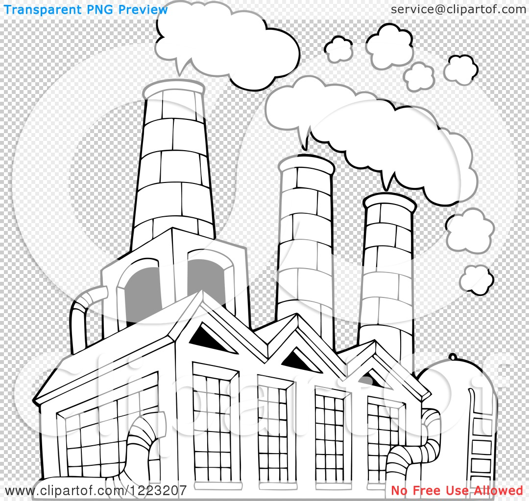 Clipart Of An Outlined Factory Building Polluting The Air
