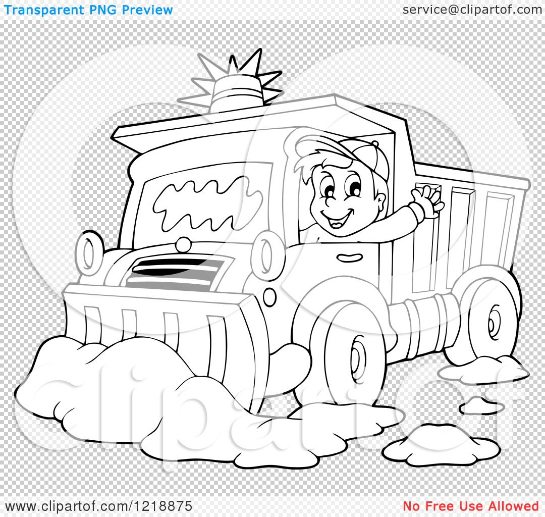 Clip Art Snow Plow Coloring Pages clipart of an outlined happy snow plough driver waving royalty png file has a