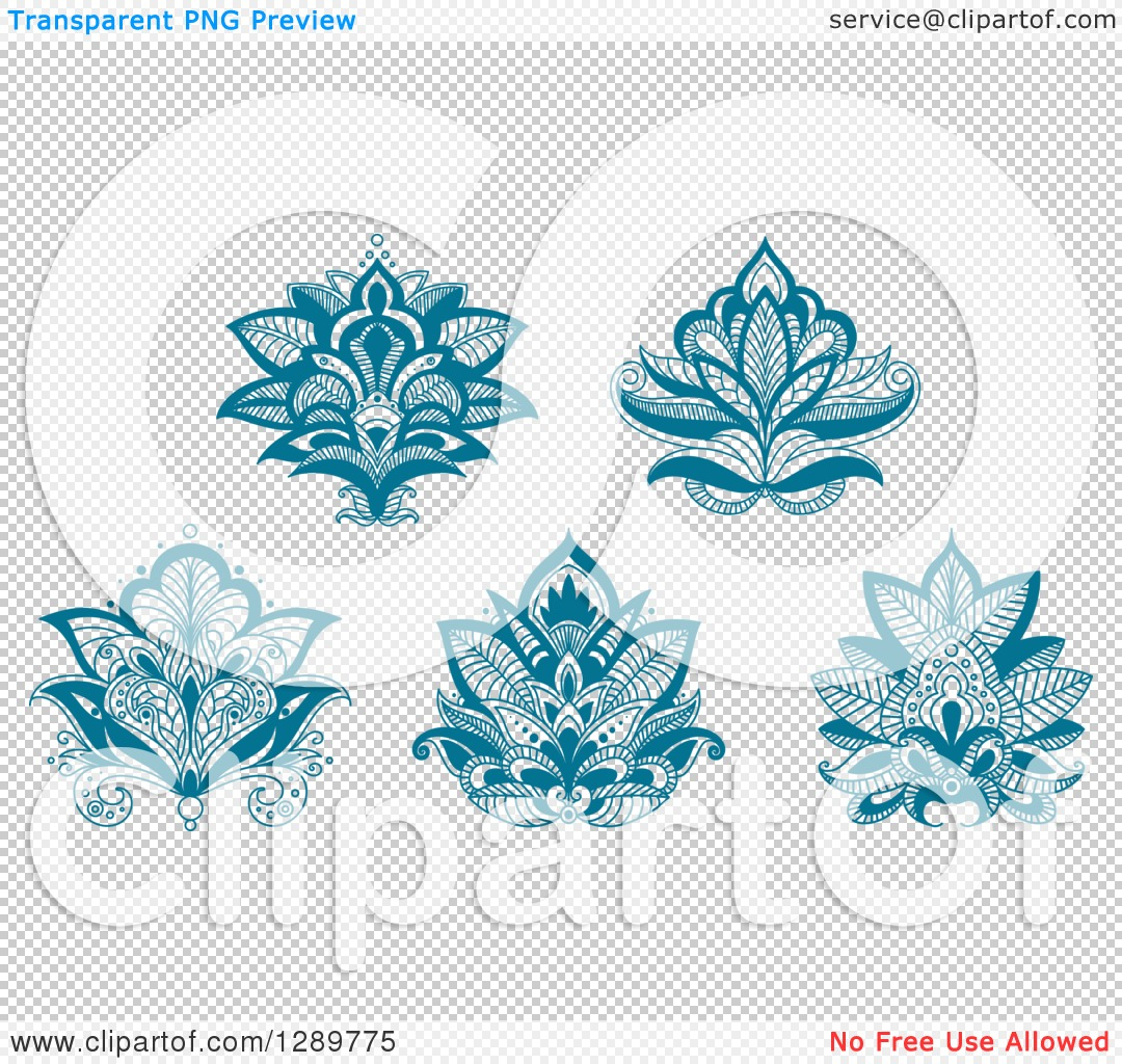 Clipart Of Beautiful Teal Henna Lotus Flowers Royalty Free Vector