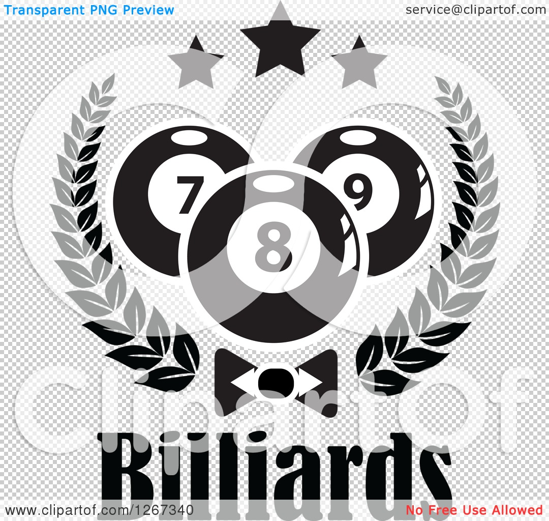 Clipart of Black and White Billiards Pool Balls and Stars in a ...