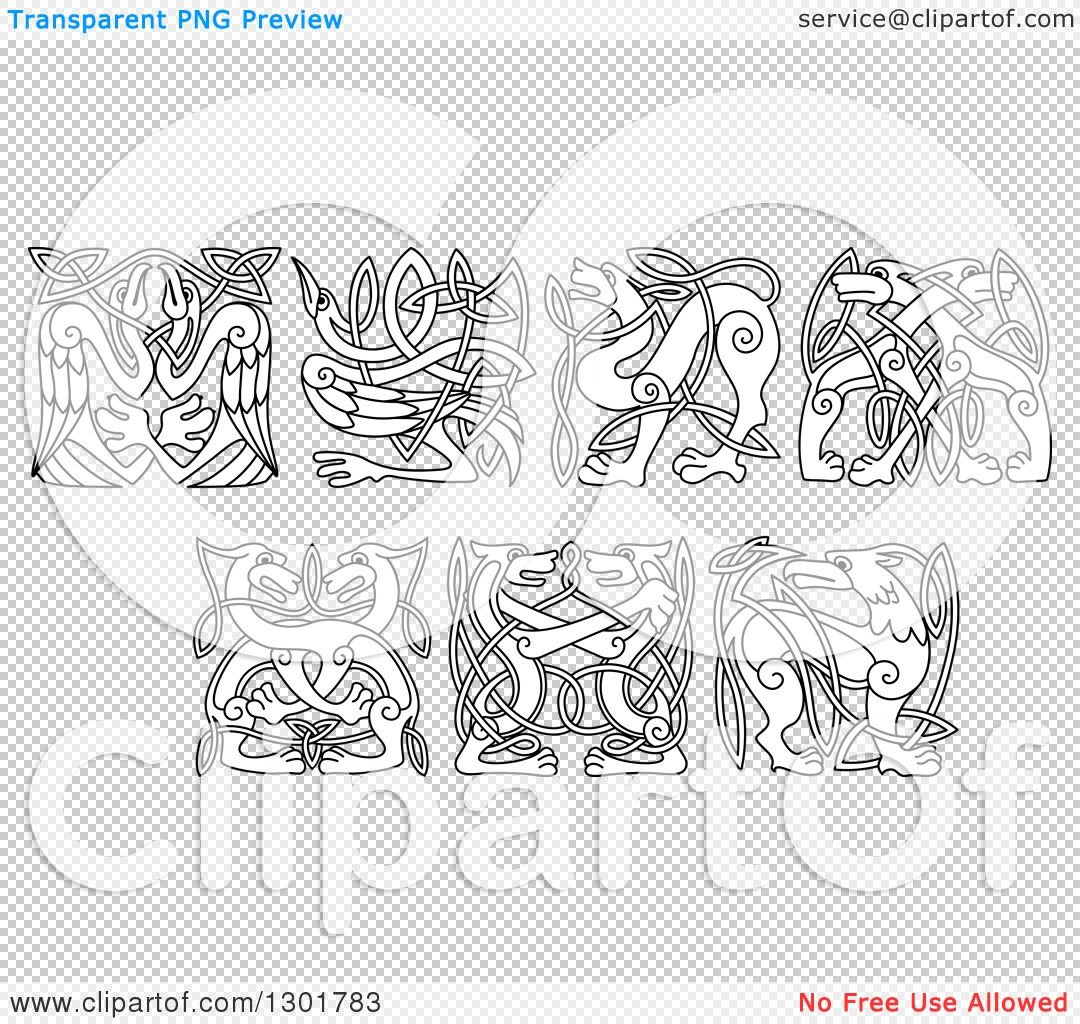 Clipart of Black and White Celtic Knot Dogs, Wolves, Herons, Storks ...