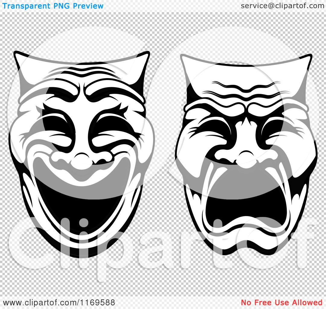 Clipart of Black and White Comedy Drama Theater Masks - Royalty ...