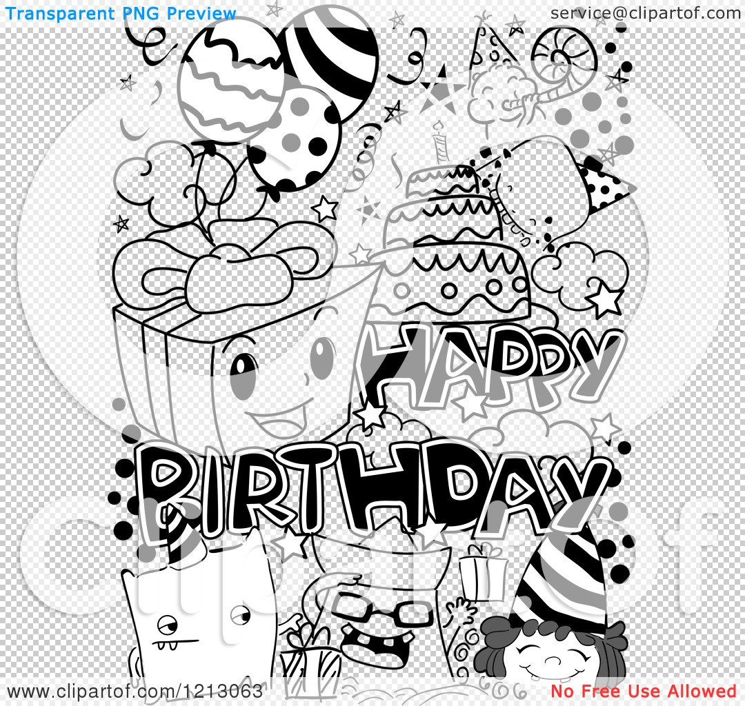 Colorful Art Studio Card: Clipart Of Black And White Happy Birthday Party Doodles