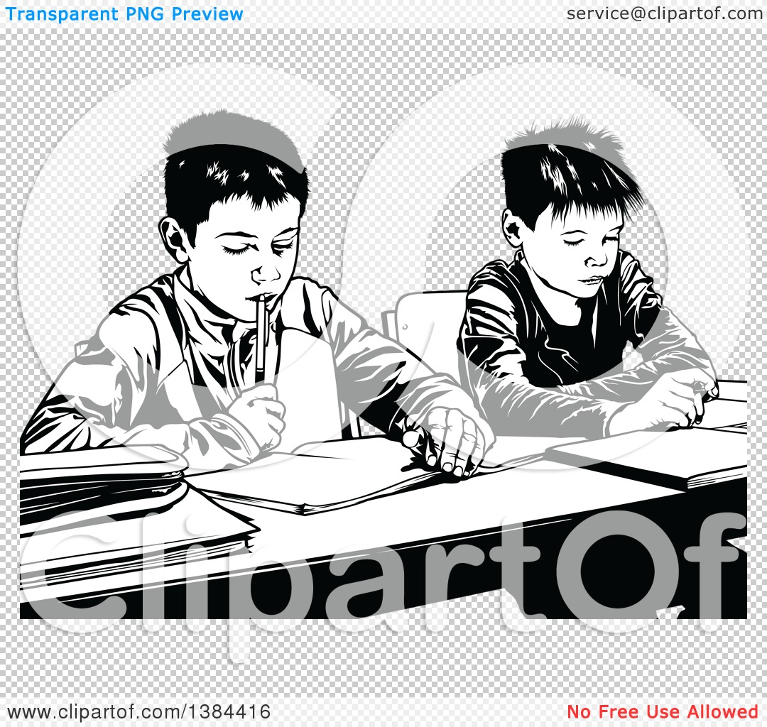 Clipart of Black and White Male Class Mates Working Side by Side ...