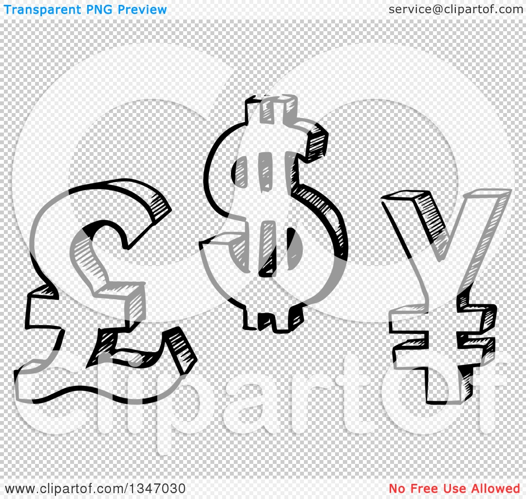 Clipart of black and white sketched pound dollar and yen currency png file has a buycottarizona Choice Image