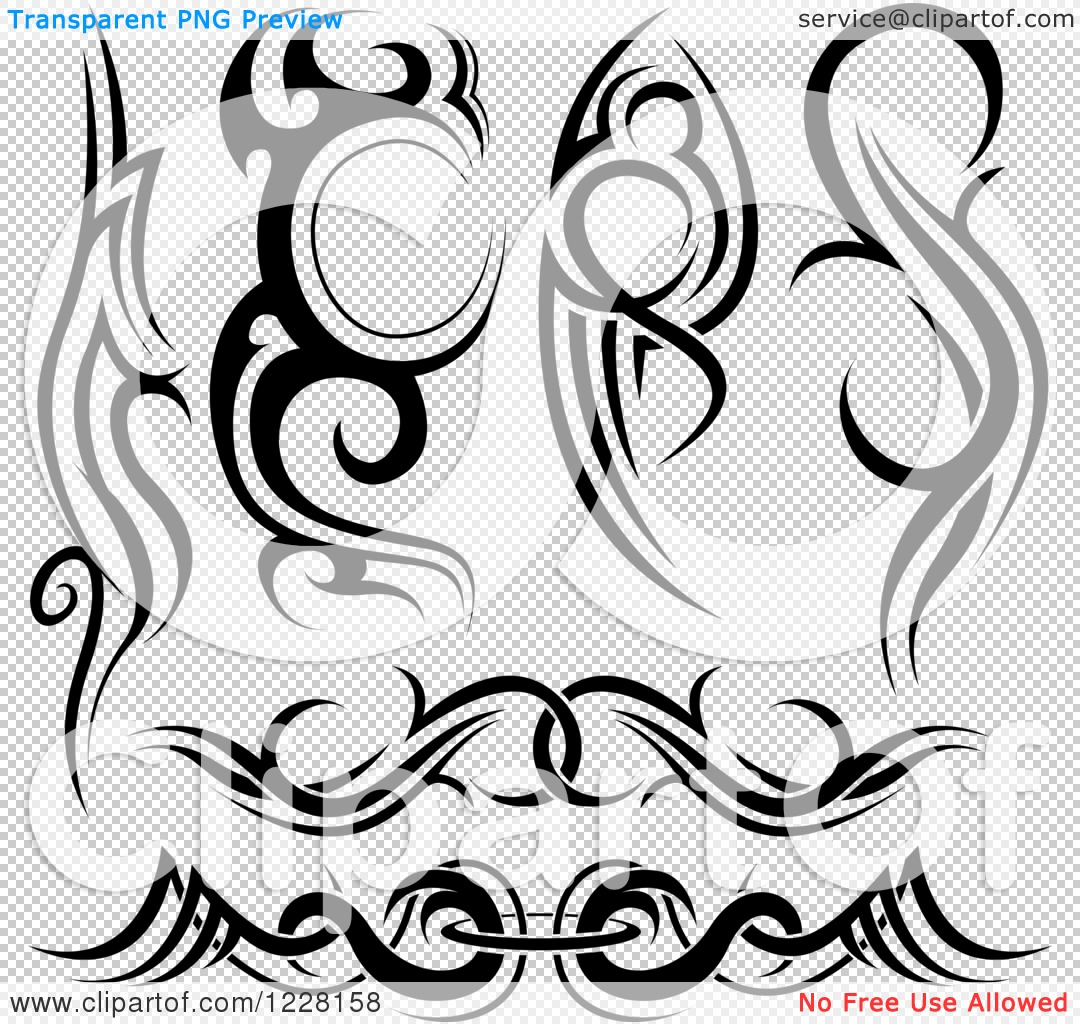 Tribal-Tattoos Clipart-Of-Black-And-White-Tribal-Tattoo-Designs-2-Royalty-Free-Vector-Illustration-10241228158